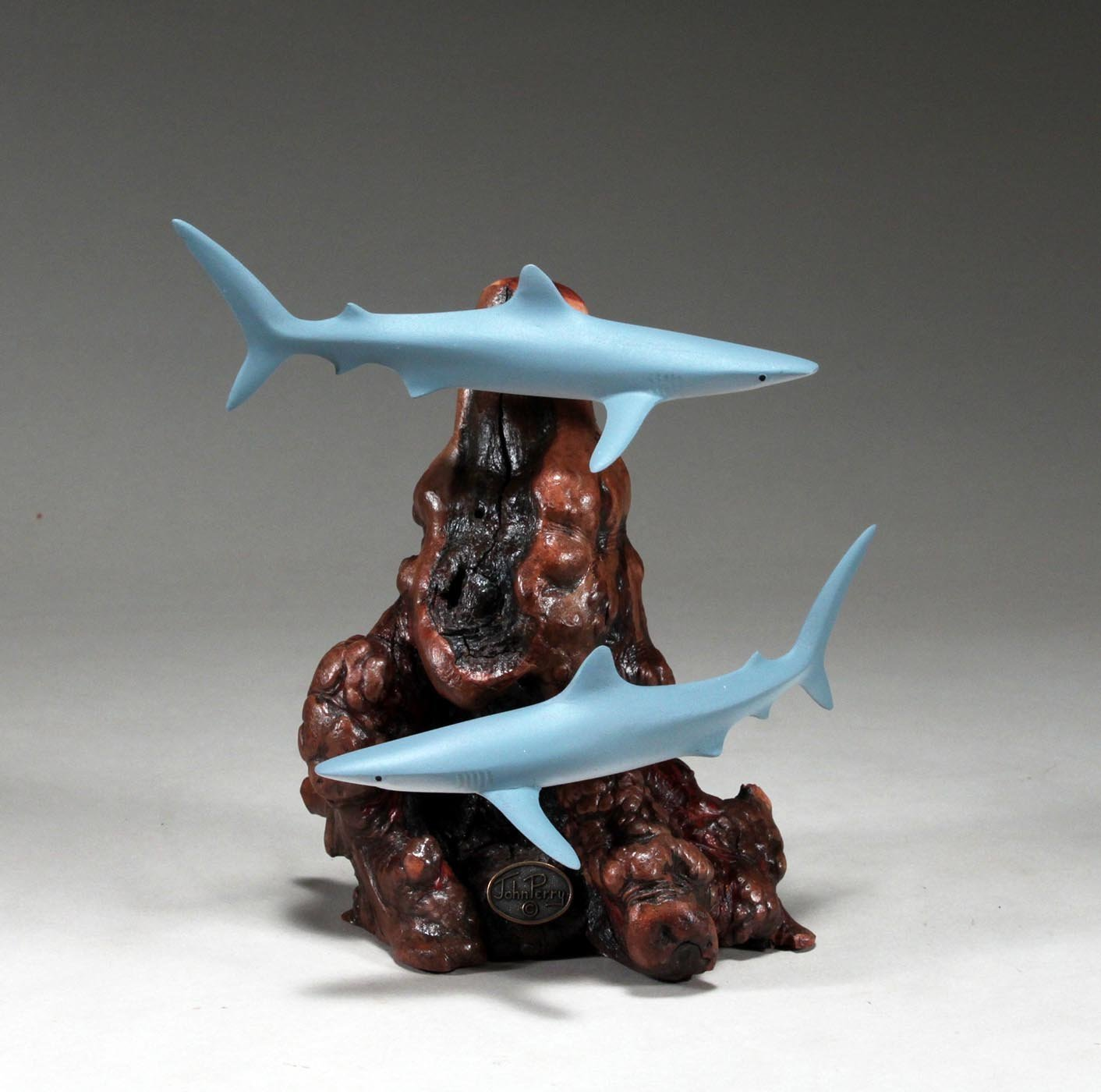 Blue Shark Duo Sculpture by John Perry 6 in long Airbrushed Statue Figurine