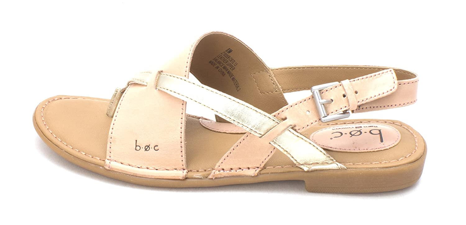 B.O.C. Womens Lowrey Leather Split Toe Casual Slingback Sandals