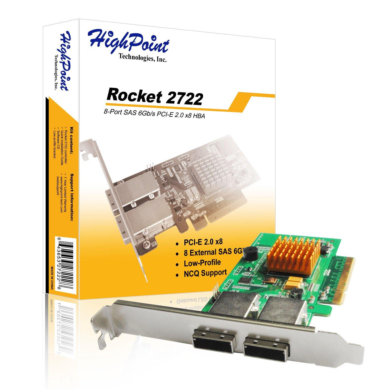 HighPoint Rocket 2722 External  8-Port PCI-Express 2.0 x8 SAS/SATA 6Gb/s Non-RAID Controller