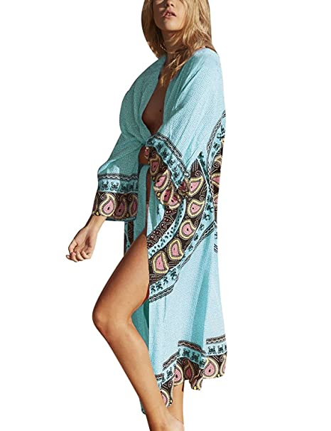 d51294fb58 QIANMEI Women s Chiffon Swimwear Cover Up Retro Floral Long Sleeve  Beachwear Kimono Cardigan at Amazon Women s Clothing store