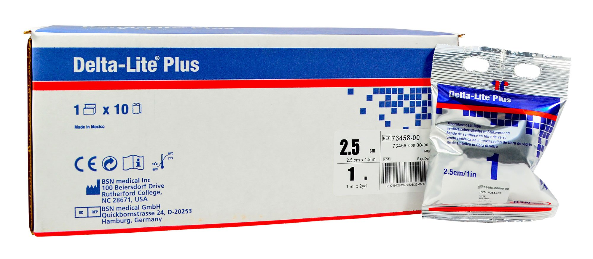 BSN Medical 7345800 DELTA-LITE Plus Cast Tape, 1'' x 4 yd. Size, White (Pack of 10)