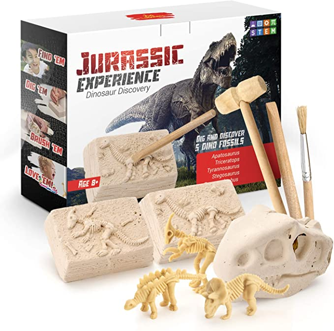 Kid Labsters Dino Dig Kit - Jurassic Experience Dinosaur Discovery - Dinosaur Fossil Digging Game Kit w/ Triceratops & Tyrannosaurus Rex Skeleton Toys & Tools - Kids Dino Sandbox Activity Set