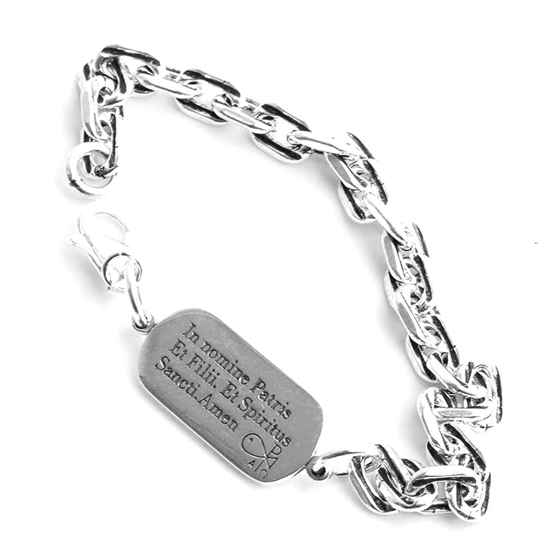 ANAZOZ S925 Sterling Silver Retro Punk Style Bible Cross Link Bracelets