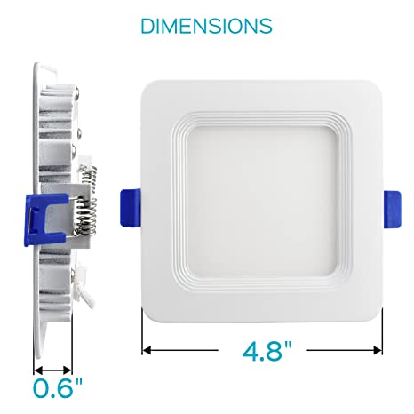 Luxrite 4 Inch Square Ultra Thin LED Recessed Light with Junction Box, 10W, 5000K Bright White Dimmable, 650 Lumens, Slim Recessed Ceiling Light, ...