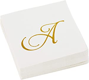 C.R. Gibson Cream and Gold Monogrammed Cursive 'A' Beverage and Cocktail Napkins, 40pc, 5'' W x 5'' L