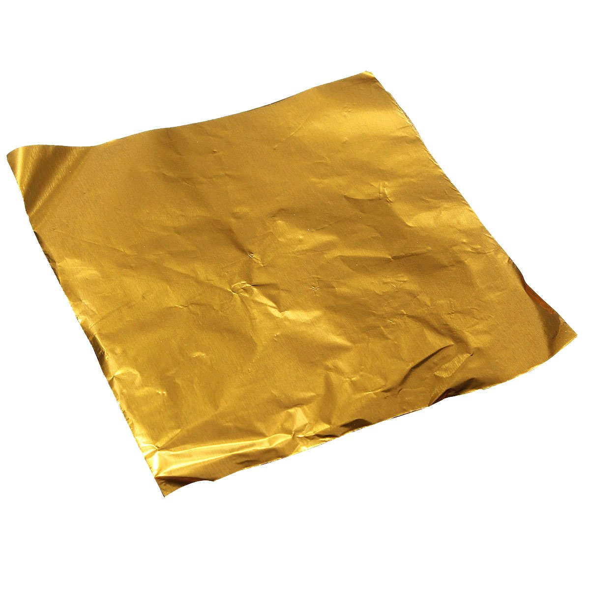 TOOGOO(R) 100pcs Square Sweets Candy Chocolate Lolly Paper Aluminum Foil Wrappers Gold