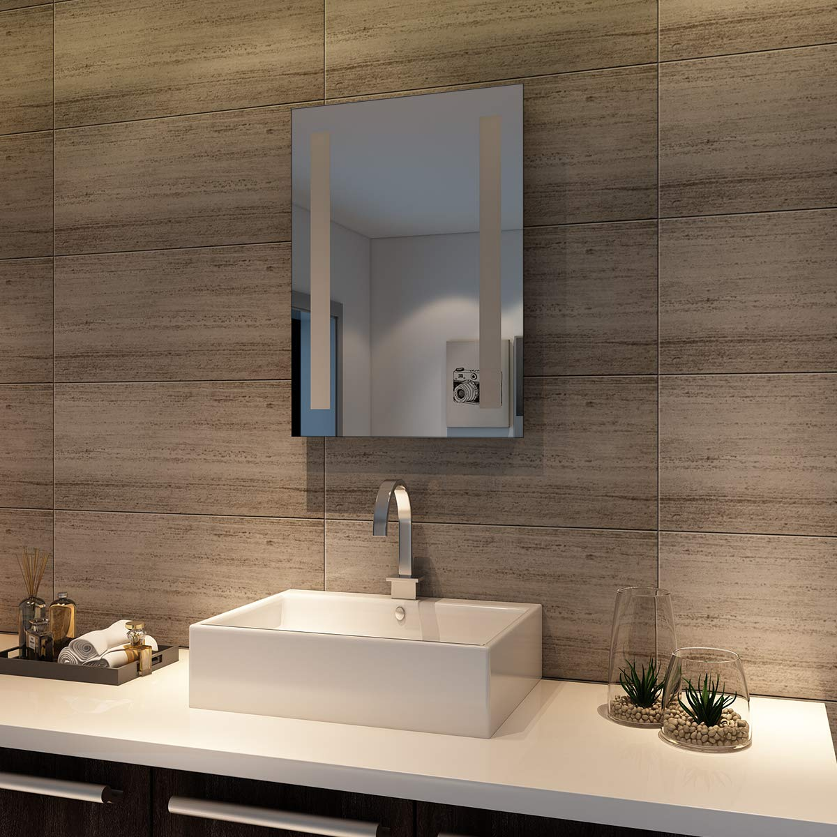 Badspiegel Lichtspiegel LED Spiegel Wandspiegel mit Touch-Schalter 100 100 100 x 60cm kaltweiß IP44 energiesparend beschlagfrei f278ad