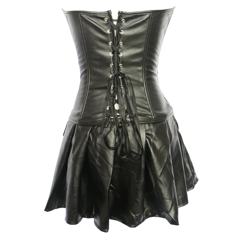 Amazon.com: Hyunong Sexy Corset Traje de cuero modelos hueco ...