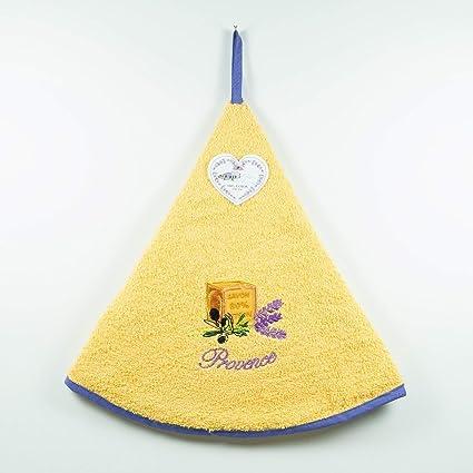 Essuie manos esponja redondo – 100% algodón amarillo ø65 cm – bordado 1 jabón