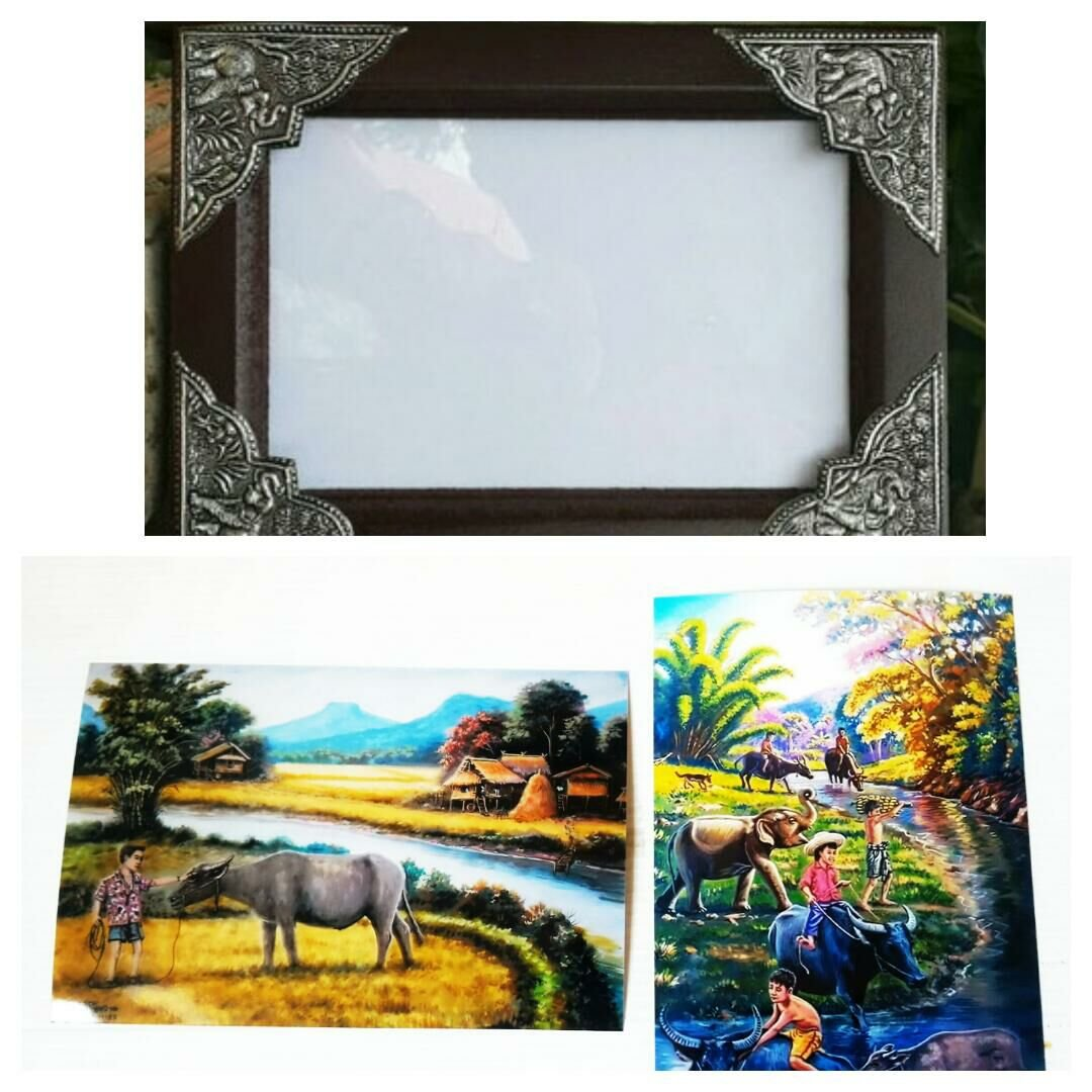 Wooden frame with beautiful Thai elephant Including rare rural pictures.(Size 4x6'')