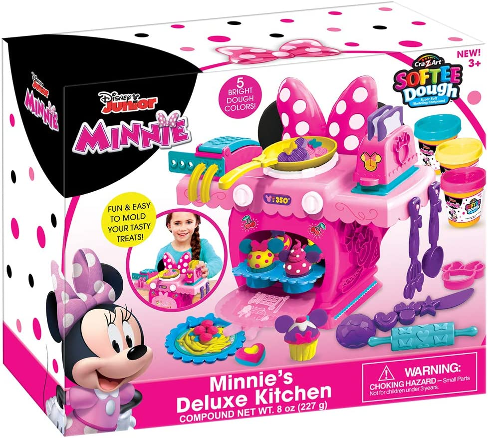 Amazon Com Cra Z Art Disney Junior Minnie Mouse Deluxe Kitchen Set Kids Ages 4 Years And Up 36501 Toys Games