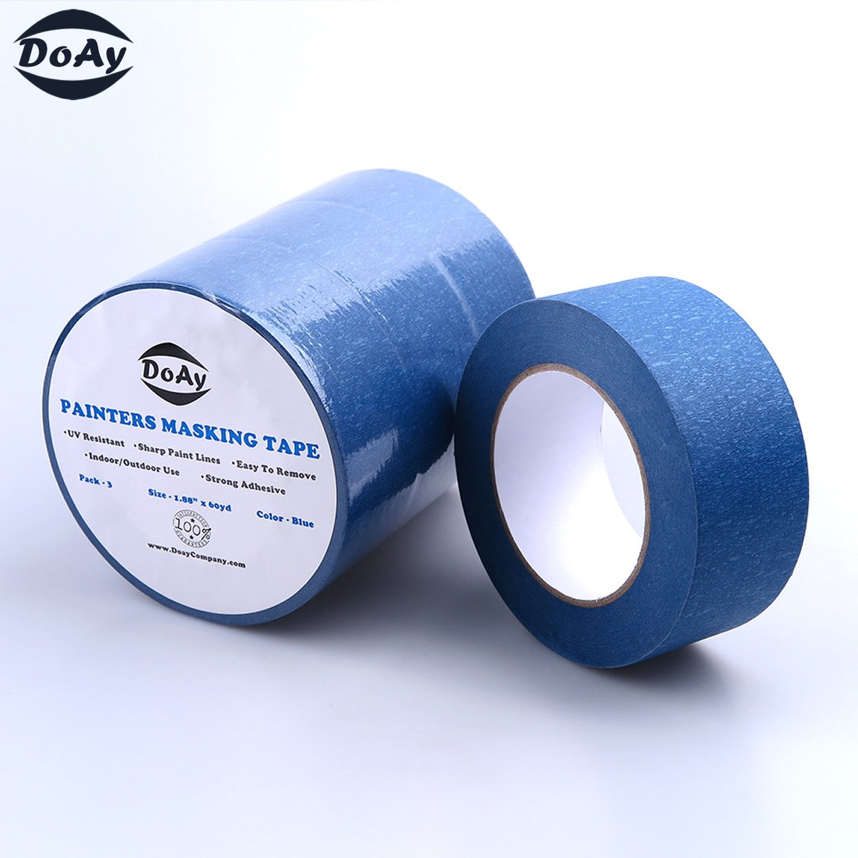 Painters Tape 3pk 2'' x 60 yd | Professional Blue Painters Masking Tape | Easy and Clean Removal | Multi Surface Use | ISO 9001 Worldwide Quality | Leaves No Residue Behind | (48mm .1.88in) (3 Pack) by DoAy (Image #3)