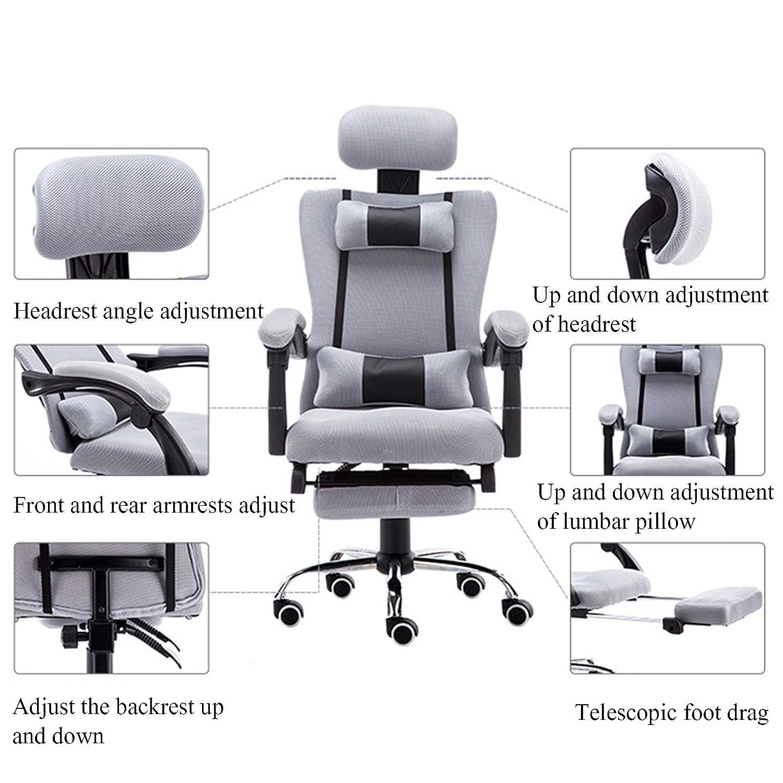 YYL kontorsstol kontor datorstol, ergonomisk nätspel svängbar stol, länkarmstöd (röd, grå, svart) svängbar stol (färg: svart) Grått