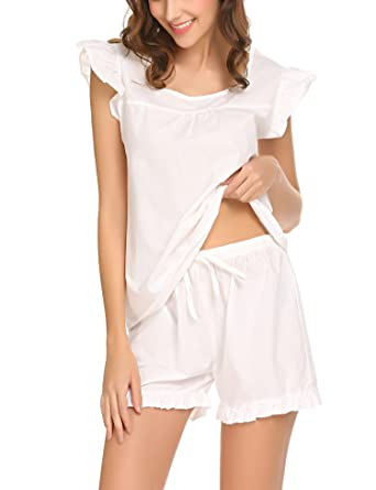 280672c2ec7e21 Meaneor_Fashion_Origin Pyjama Damen Kurz Shorty Baumwolle Schlafanzug  Kurzarm Nachtwäsche Set Shirt & Shorts Sleepwear mit Ruffle Sleeve Weiß Rosa