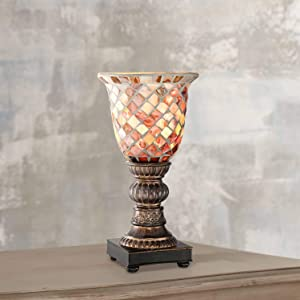 "Mosaic Ivory Glass 12"" High Uplight Accent Lamp"