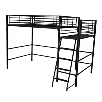 Alexy Lit mezzanine 2 places noir (140x200cm): Amazon.fr ...