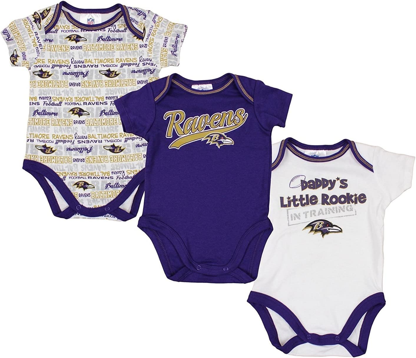 GERBER Baltimore Ravens NFL Baby Boys 3 Pack Short Sleeve Bodysuit Set, Purple - White