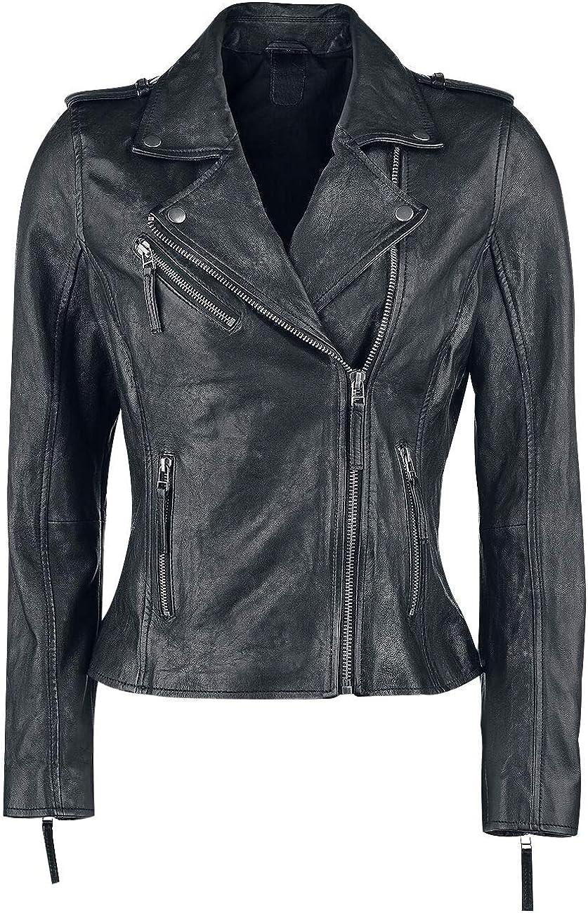 Black Premium by EMP All Over The Road Mujer Chaqueta de Cuero Negro