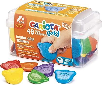 CARIOCA Baby Teddy Crayons   Caja de Ceras para Niños a Partir de 12 Meses con Forma de Oso, 48 Unidades: Amazon.es: Oficina y papelería