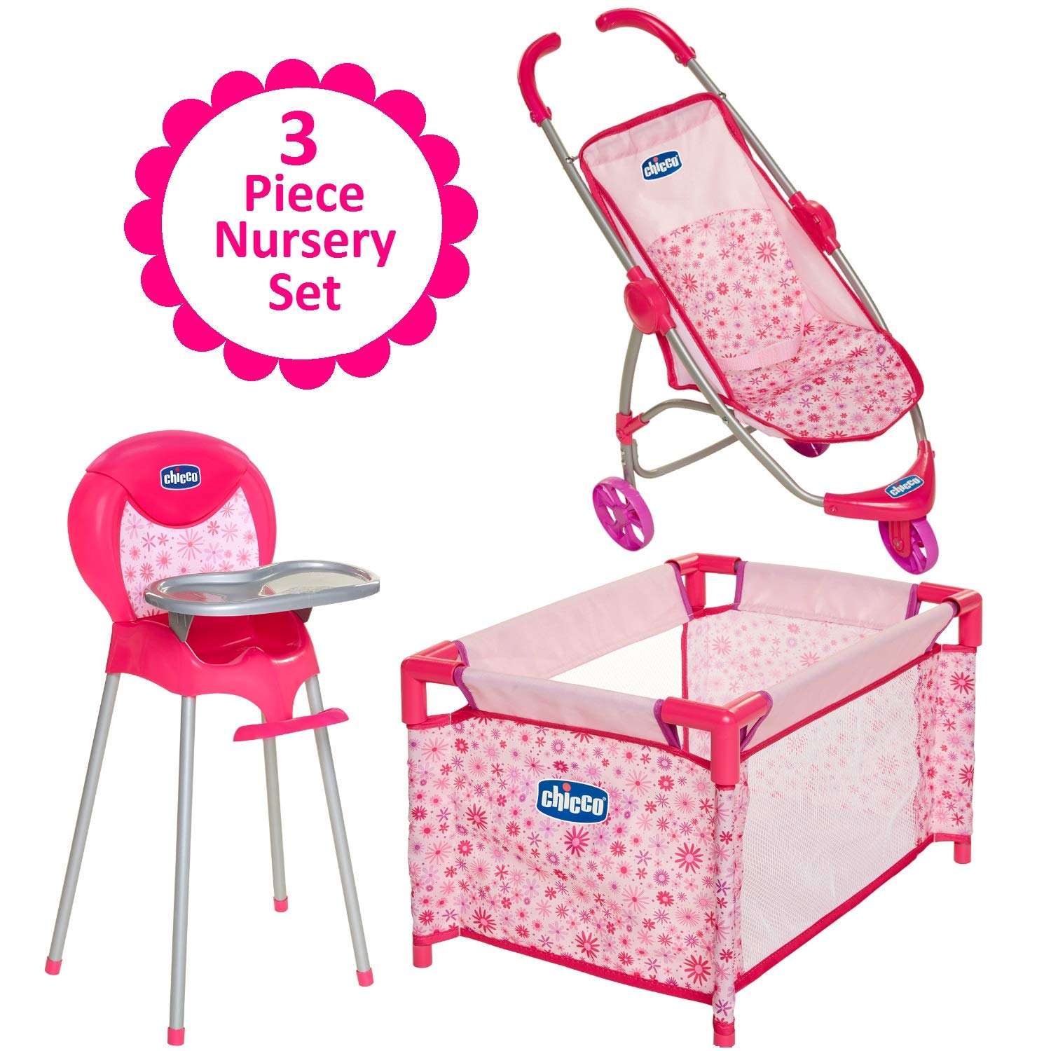 Baby Doll Furniture Gift Set, For Up To 18-Inch Baby Dolls, 3 Piece Mega Baby Doll Play Set, Baby Doll Stroller, Baby Doll High Chair and Baby Doll Playard Included, For 3 Year Old Girls and Up by Chicco