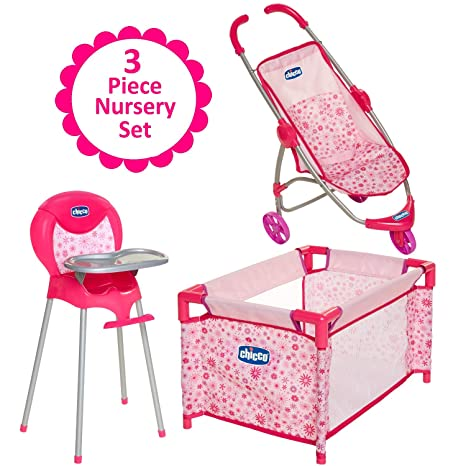 Baby Doll Furniture Gift Set For Up To 18 Inch Baby Dolls 3 Piece Mega Baby Doll Play Set Baby Doll Stroller Baby Doll High Chair And Baby Doll