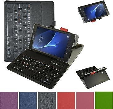 GALAXY TAB A6 7.0 Bluetooth teclado Funda,Mama Mouth DETACHABLE Bluetooth teclado teclado (teclado QWERTY formato inglés) PU Cuero Con Soporte Funda ...