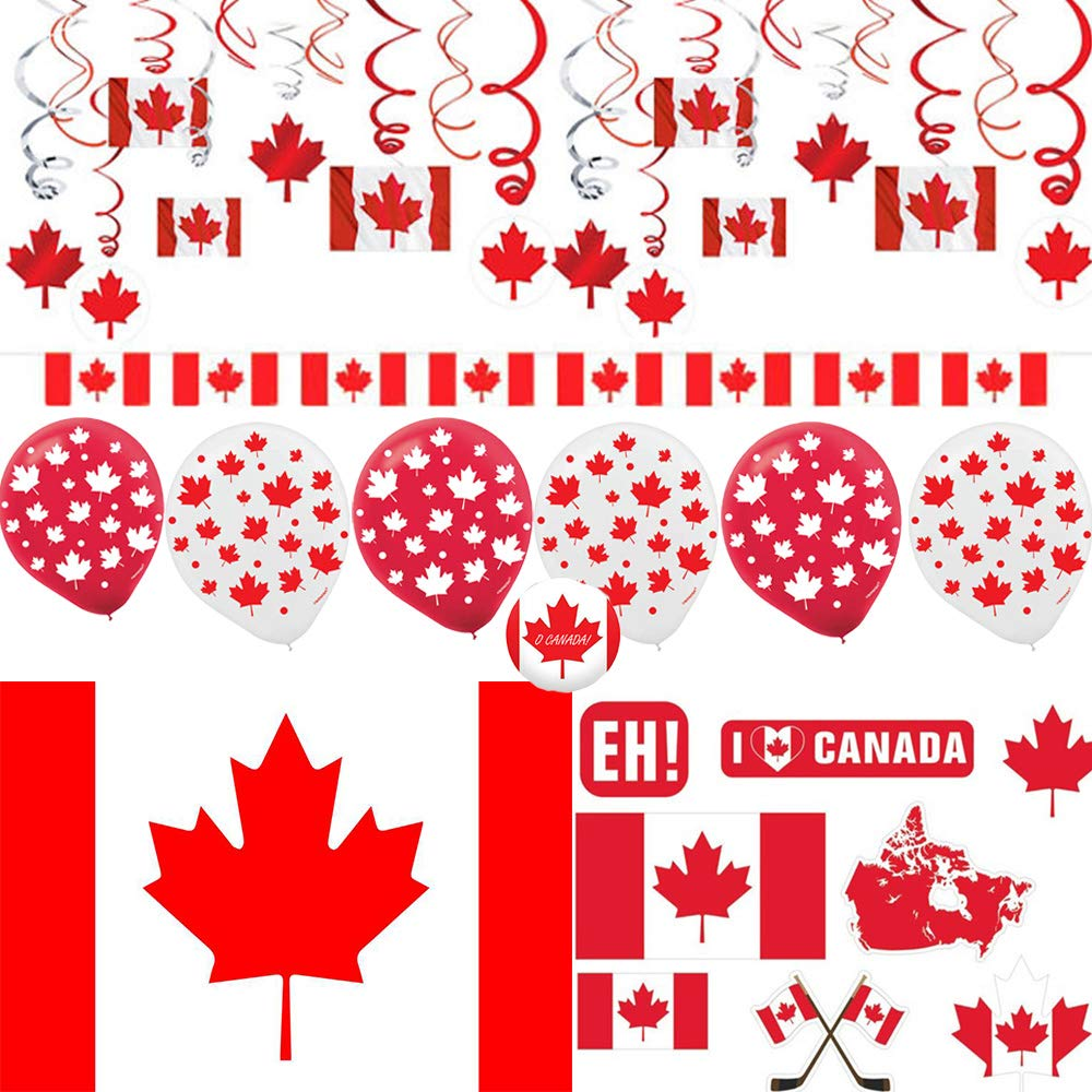 Canada Day Party Decoration Pack With Canada Themed Hanging Decorations, Canada Flag Banner, Canada Inspired Cutouts, 1 Canadian Flag, Canadian Maple Leaf Balloons, and O Canada Pin By Another Dream