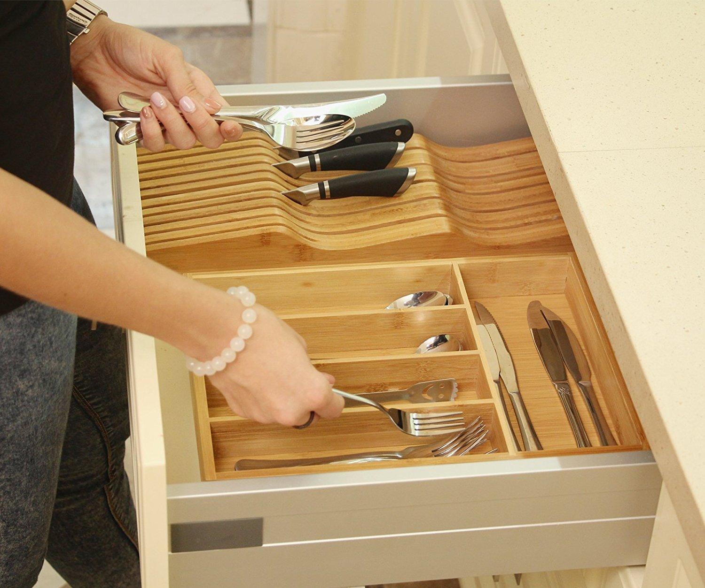 Gianchy Bandeja para cubiertos de bambú, Organizador de Cubiertos, Tesistente y Ecológico, 5 Compartimientos
