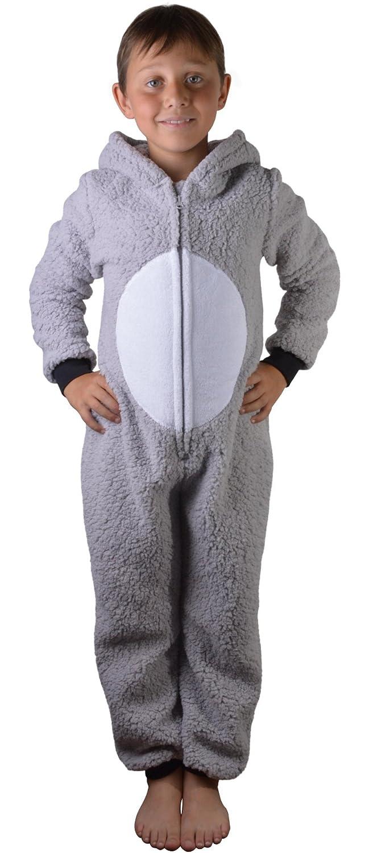 16e6d0437438 Super Soft Womens Kids Tweens Sherpa Fleece Hooded Koala All in One Onesie  with 3D Ears