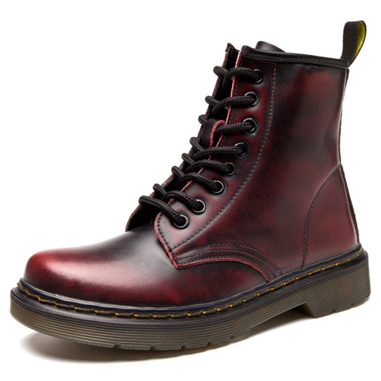 ukStore Botte Femme Hiver Chaussures/Homme Martin Bottes Botte Cuir Plates/Bottines Plates Fourrées/Boots Chaussures Lacets/Classiques Chaudes Impermeables Sans Doublure/Rouge-1 91ecbe3 - piero.space