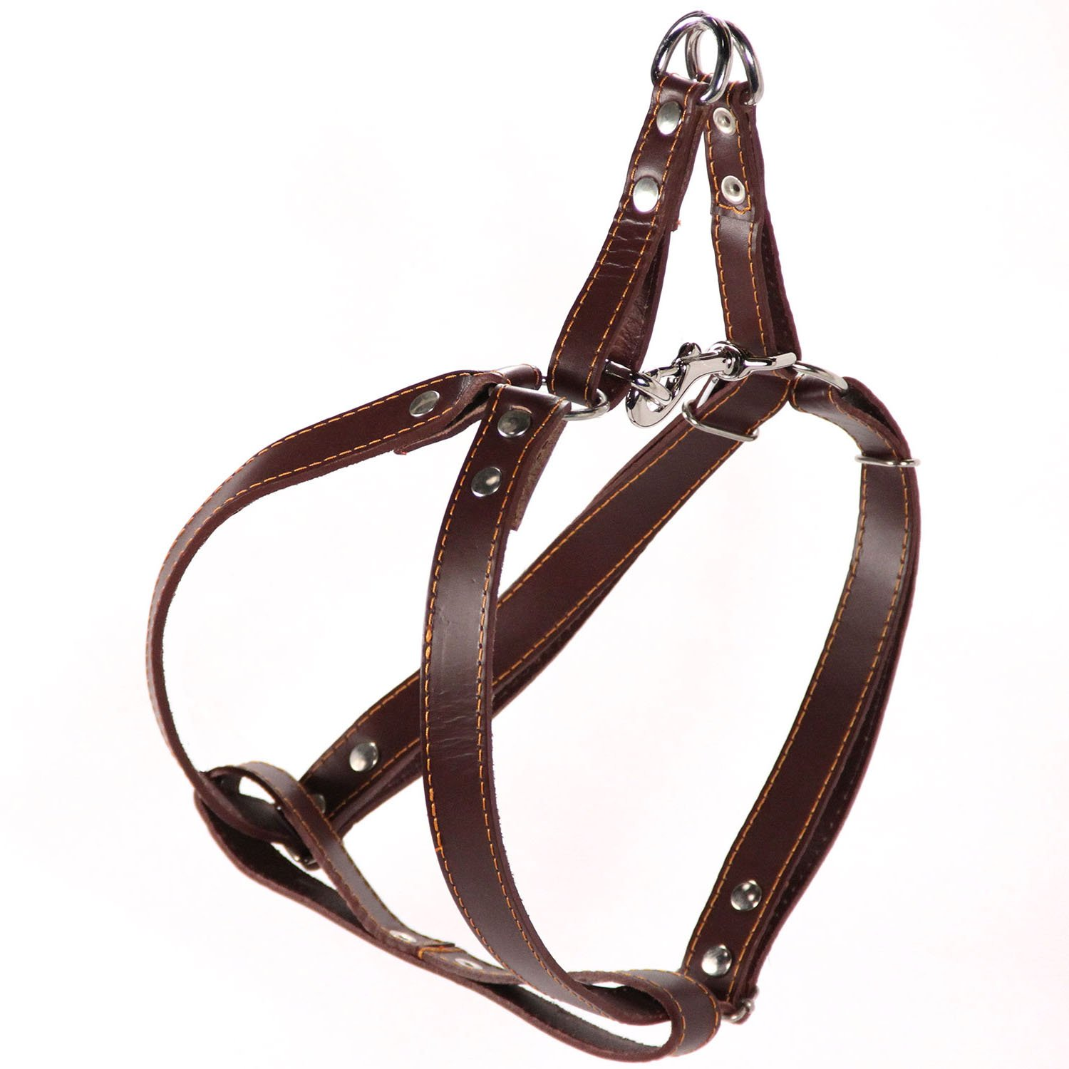 Brown Logical Leather Adjustable Dog Harness Heavy Duty Quick Release Genuine Leather Harness Brown