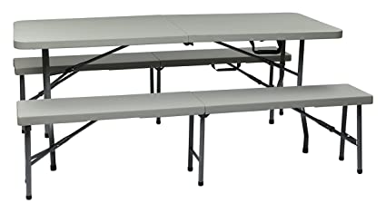 Office Star Resin 3-Piece Folding Bench and Table Set 2 Benches and 6  sc 1 st  Amazon.com & Amazon.com: Office Star Resin 3-Piece Folding Bench and Table Set 2 ...