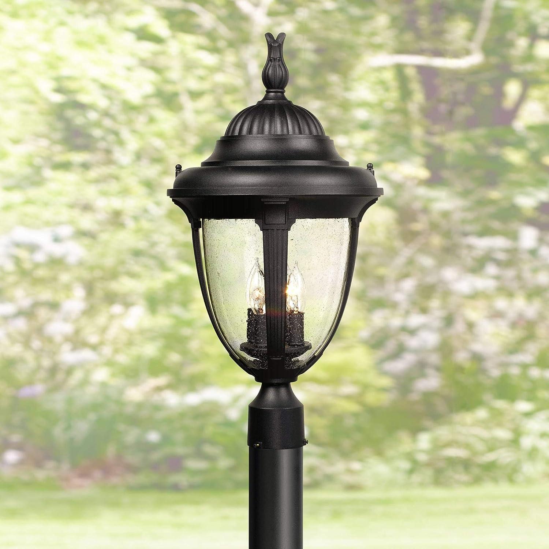 "Casa Sierra Outdoor Post Light Fixture Black Colonial 24 1/2"" Seeded Glass for Exterior Garden Yard Patio Driveway - John Timberland"