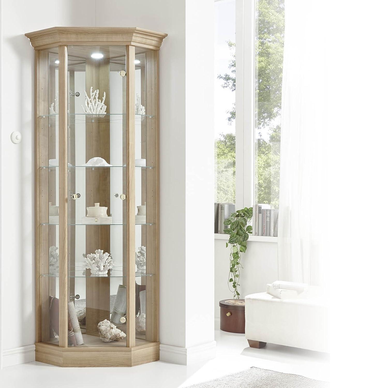 HOME Corner Cabinet with Pelmet, Glass Display Case, Oak, Dark Oak ...