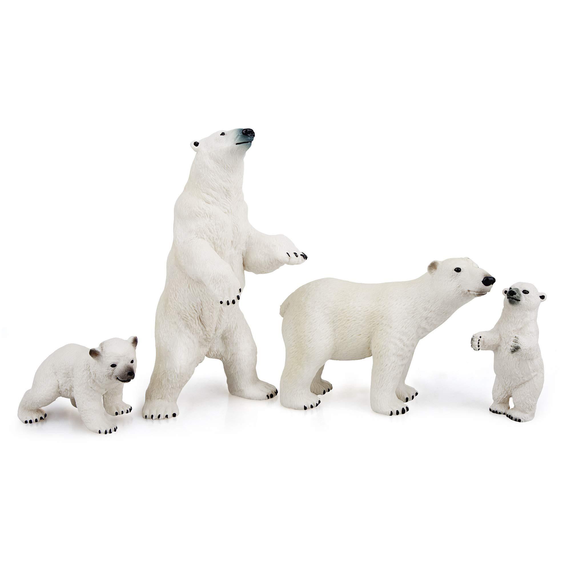 "TOYMANY 4PCS Polar Bear Figurines Toy Set, 2-5"" Realistic Plastic Polar Animals Figures Family Set with Baby Polar Bears…"