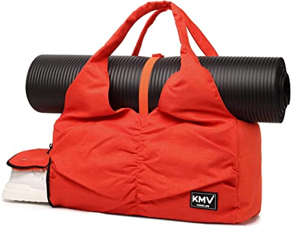 Travel Yoga Gym Bag for Women, Carrying Workout Gear, Makeup, and Accessories, Shoe Compartment and Wet Dry Storage Pockets, Large Sizes, Orange