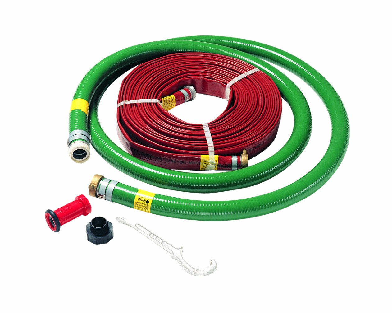 1-1//2 Fire Nozzle 1-1//2 x 2 Adapter and Hose Wrench AMT Pump 055-338 2 High Pressure Hose Kit with 20 ft 2 Suction and 100 ft 100 PSI 1-1//2 High Pressure Discharge Hose