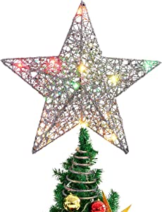 STOBOK Christmas Tree Topper,Christmas Decorations Colorful Lighted Xmas Tree Star for Christmas Tree Ornament Party Decoration(12 Inch,Silver)