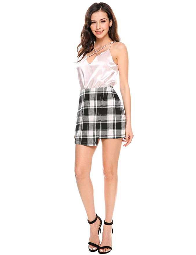 d65d00f99 Meaneor Women Print Stretchy Plaid Back Zipper Mini Skirts at Amazon Women's  Clothing store: