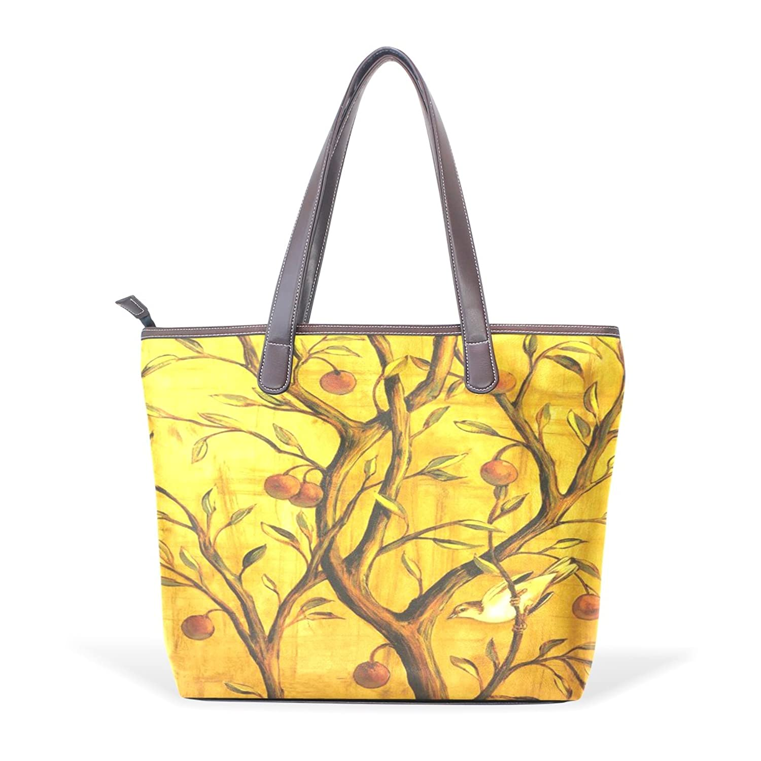 Womens Leather Tote Bag,Yellow Art Bird Branch,Large Handbag
