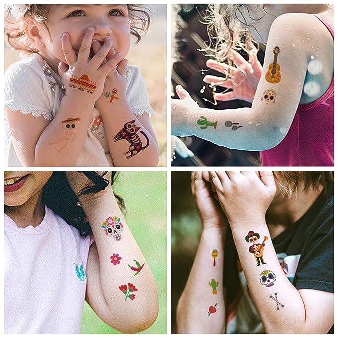 NUOBESTY Tatuajes de Calavera de Halloween, 10 Hojas de Calavera ...