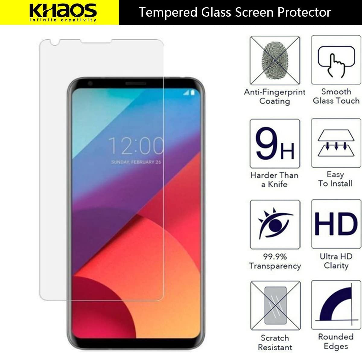 with Lifetime Replacement Warranty Khaos for LG V30 Plus//LG V30 HD Clear Tempered Glass Screen Protector 6 Pack
