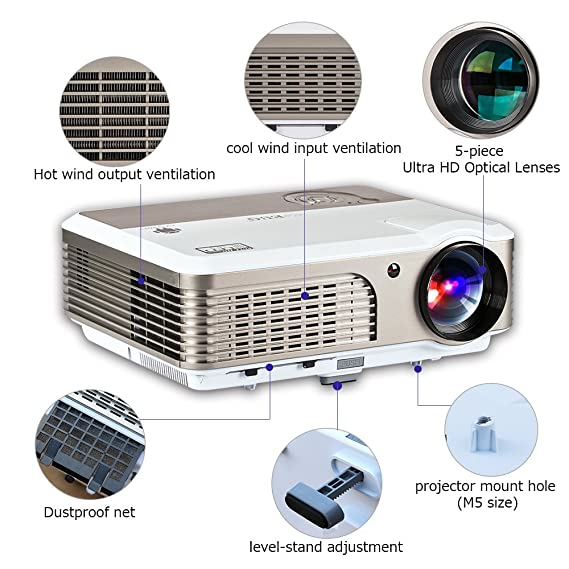 ... Projector Airplay 1080P 720P Wireless Home Cinema Outdoor 2600 Lumens, LCD Android Movie Gaming Projector HDMI USB VGA Audio AV for DVD Phones PC Laptop ...