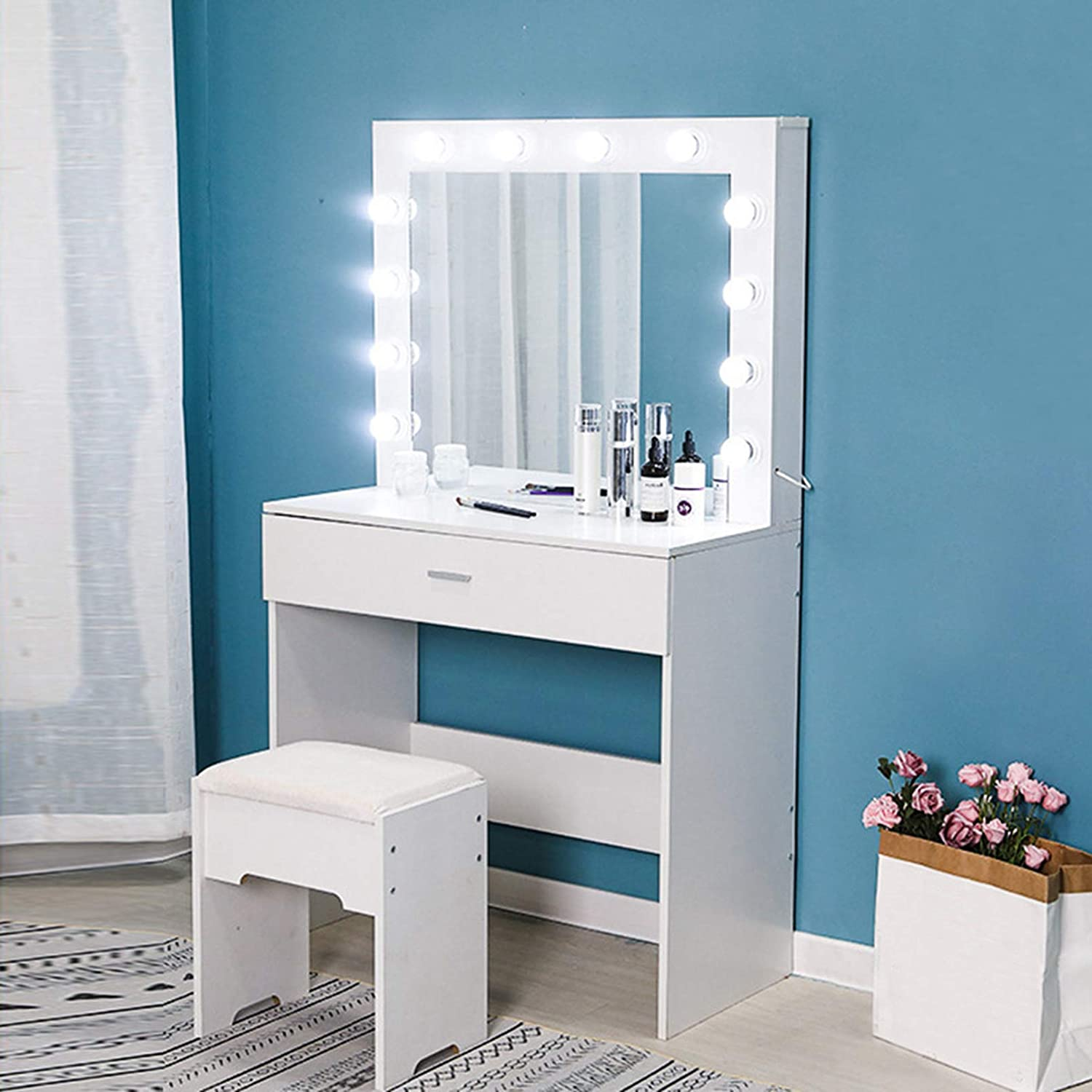 Riforla Vanity Set with Lighted Mirror, Makeup Vanity Dressing Table  Dresser Desk with Large Drawer for Bedroom, White Bedroom Furniture(11 Cool  LED