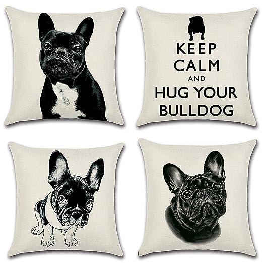 4 decorativas fundas de cojín cuadradas de lino y algodón con bonito diseño de bulldog francés, 45,7 x 45,7 cm