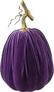 Homeford Velvet Pumpkin Centerpiece Decoration, Purple, 12-Inch