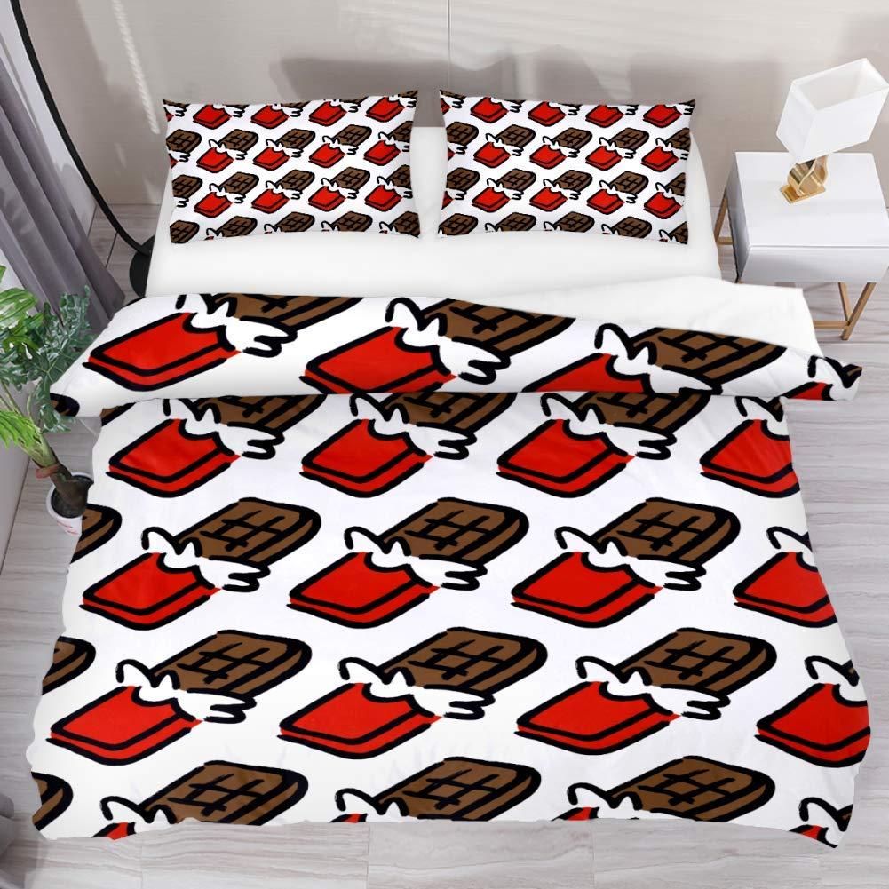 LUCASE LEMON ALEX 3 Pieces Cartoon Chocolate Bar Pattern Duvet Cover Set (1 Duvet Cover + 2 Pillowcases) Extra Long Twin Size Breathable Bedding Sets for Kids Children Girls Boys Teens