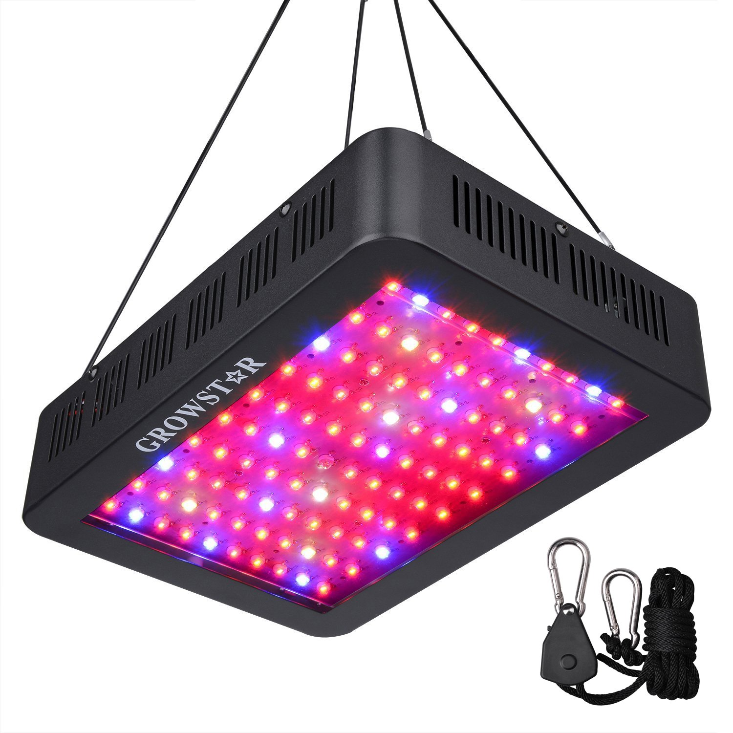 1000W LED Grow Light, Growstar Double Chips LED Grow Lamp Full Spectrum for Hydroponic Indoor Plants Flower and Veg with UV IR Daisy Chain (12-Band)