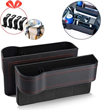 Multifunctional with Cup Holder,Console Side Pocket for Cellphone,Wallet Various Cards MY Car Seat Gap Filler 2 Pack Premium Carbon Fibre Black No Deformation