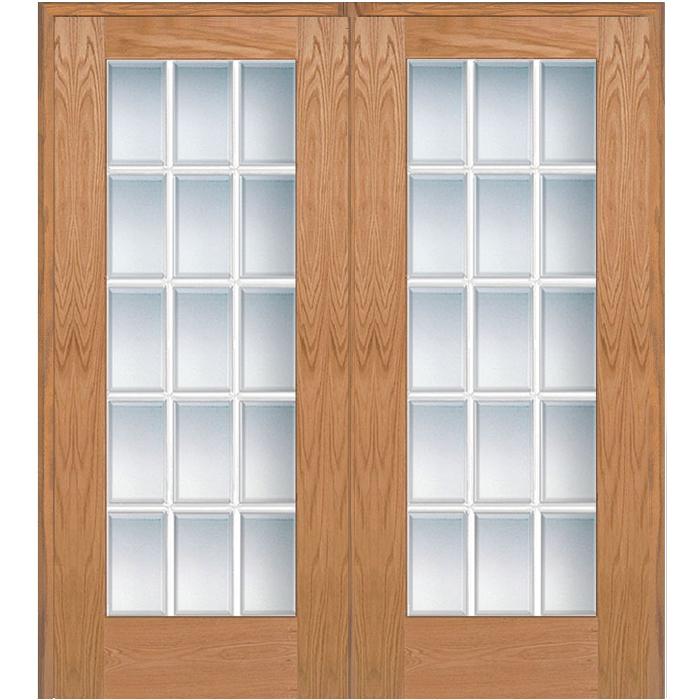 National Door Company Z020004R Unfinished Red Oak Wood 15 Lite True Divided, Beveled Clear Glass, Right Hand Prehung Interior Double Door, 72'' x 80''